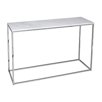 Gillmore White Marble And Silver Metal Contemporary Console Table