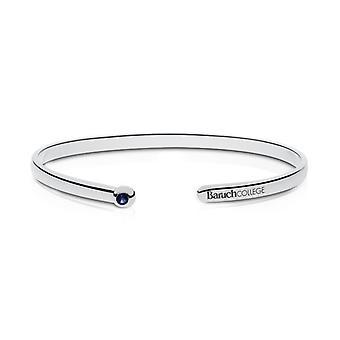 Bernard M. Baruch College Engraved Sterling Silver Sapphire Cuff Bracelet