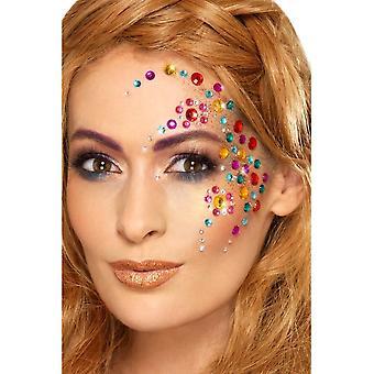 Duhový klenot obličej drahokamy vícebarevný list 100, Facepaint/make-up