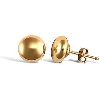 Jewelco London Ladies 9ct Yellow Gold Button Pebble Stud Earrings, 7mm