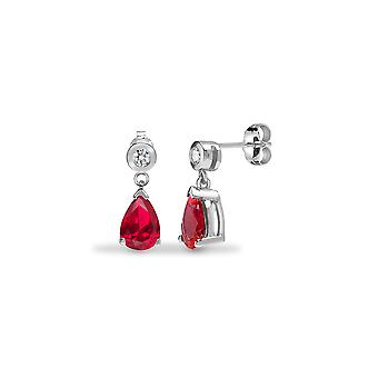 Jewelco London 9ct White Gold Rub Over Set Round H I1 0.08ct Diamond and Pear Red 1.46ct Ruby Tears of Joy Drop Earrings