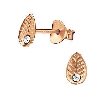 Leaf - 925 Sterling Silver Crystal Ear Studs - W29336X