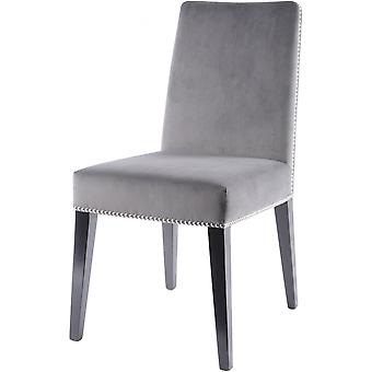 Libra Furniture Grey Velvet Dining Chair With Dark Birchwood Legs