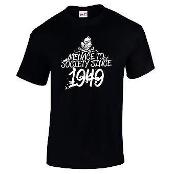 Men's 70th Birthday T-Shirt Meanace Since 1949 Prezenty dla niego