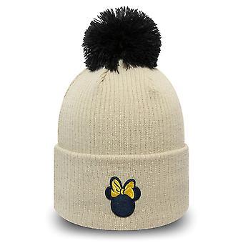 New Era Women's Winter Hat Bobble Beanie - Minnie Mouse Beige