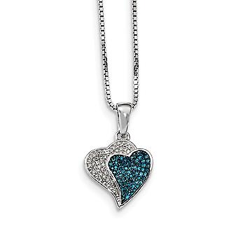 925 Sterling Silver Gift Boxed Spring Ring Rhodium plated Rhodium Plated Blue White Diamond Love Hearts Pendant Necklace