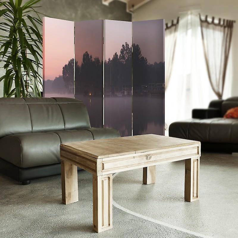 Diviseur de chambre, 4 panneaux, double-sided, 360 rotatable, toile, lac dans le matin