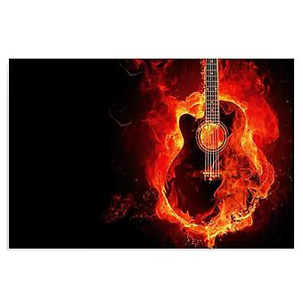 Canvas, Picture on canvas, Burning guitar