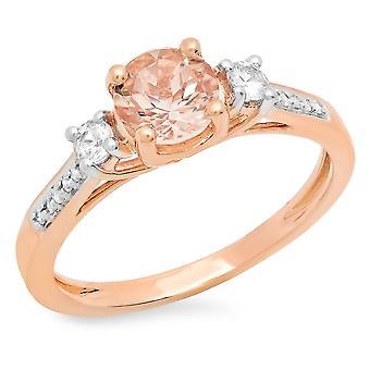 Dazzlingrock Collection 10K Morganite,White Sapphire & White Diamond Ladies Bridal 3 Stone Engagement Ring, Rose Gold