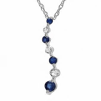 Dazzlingrock kollektion 10K rund hvid diamant & blå safir damer graduerende rejse af liv vedhæng, hvid guld