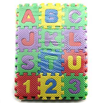 2x 36 stykker bokstaver tall puslespill matte gulvteppe for barn
