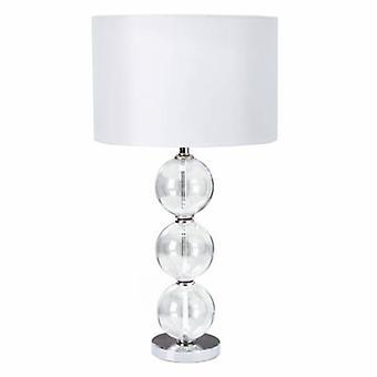 1 Light Table Lamp Chrome, mit Glasbällen und White Shade