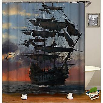 Old Style Pirate Ship Shower Curtain