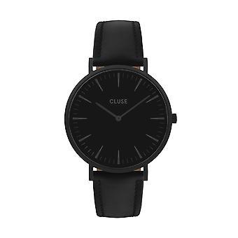 CLUSE La Boheme Stainless Steel Case Black Leather Strap Ladies Watch CW0101201018