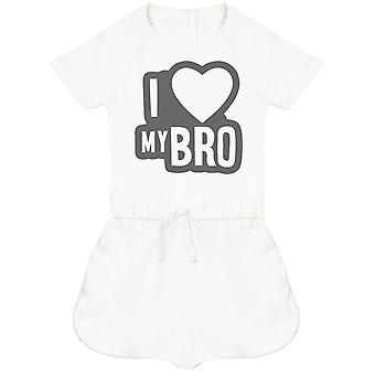 I Love My Bro Black Outline Baby Playsuit