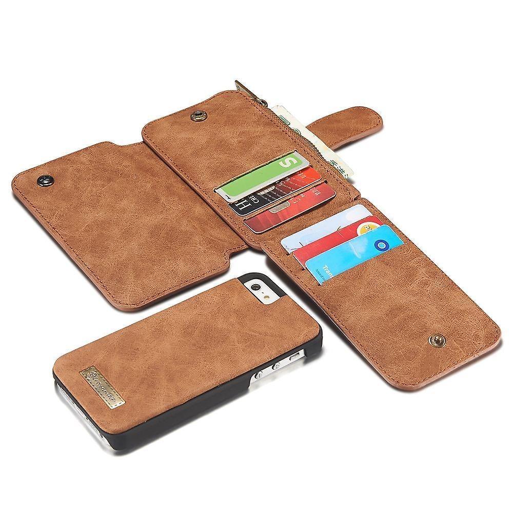 Iphone Se Case / 5s / 5 Brown Multifunction Portfolio - Caseme