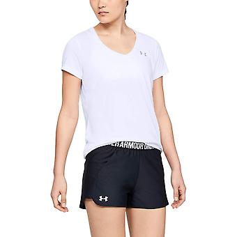 Under Armour Women's Tech V-Neck Short Sleeve, White/Metallic Silver, Size Small