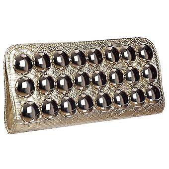 Onlineshoe Ladies Metallic Evening Clutch Sac à main - Gold Metallic