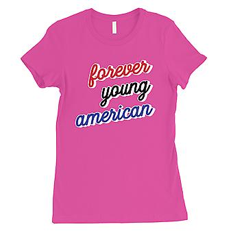 365 Printing Forever Young American Womens Hot Pink Proud Blessed Saying T-Shirt