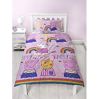 Peppa Pig Hooray Single Duvet Cover Set - Rotary Design
