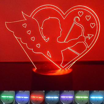 Cupid and Bow Love Heart Colour Changing LED Acrylic Light