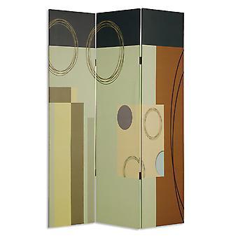 Din lemn 3 panou panza cameră divizor cu model geometric, multicolor
