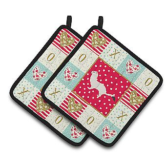 Stoat Short-tailed Weasel Love Pair of Pot Holders