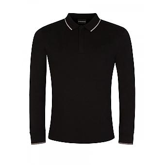 Polo à manches longues Emporio Armani Cotton Pique Black