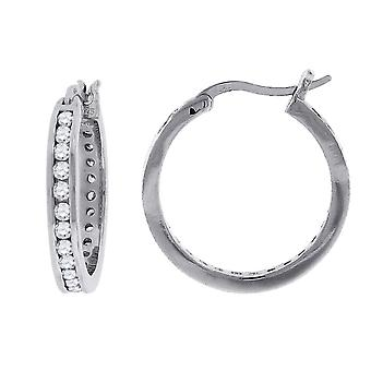 925 Sterling Silver Womens Mens Round CZ Cubic Zirconia Simulated Diamond Hoop Fashion Earrings Jewelry Gifts for Men