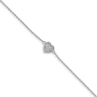 925 Sterling Silver Rhodium Plated CZ Cubic Zirconia Simulated Diamond Love Heart Bracelet With .75inch Ext. 6 Inch