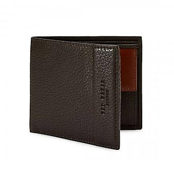 Ted Baker Carabas Chocolate Brown Leather Bi-fold Wallet With Coin Pkt