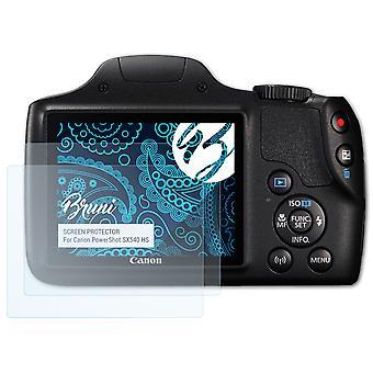 Bruni 2x Schutzfolie kompatibel mit Canon PowerShot SX540 HS Folie