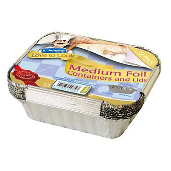 Kingfisher 9 Pack Of Medium Foil Food Containers And Lids 3.8 x 13.8 x 11.2cm