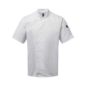 Premier Unisex Adults Chefs Zip-Close Short Sleeve Jacket