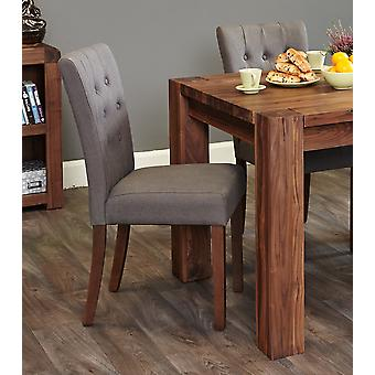 Walnut Flare Back Upholstered Dining Chair - Slate (Pack of Two) - Baumhaus