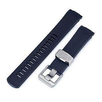 Strapcode rubber watch strap 22mm crafter blue - navy blue rubber curved lug watch band for seiko turtle srp777