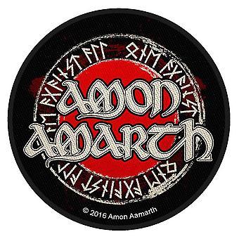 Amon Amarth Patch Band logotyp cirkulär officiella svart metall vävda sy på