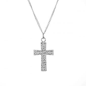 Eternity Sterling Silver Crystal Cross Pendant And 18'' Chain