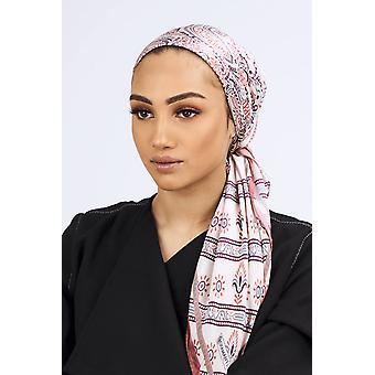 Silk satin scarf in cream & vintage pink print