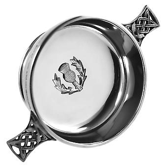 Scottish Thistle Badge Pewter Quaich - 4""
