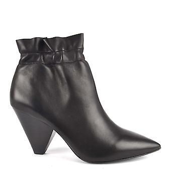 Ash Footwear Dafne Black Leather Ankle Boot