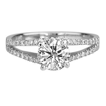 1.36 Carat D SI1 Diamond Engagement Ring 14K White Gold Solitaire w Accents Micro Pave Round