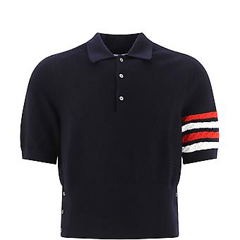 Thom Browne Mkp050a00014415 Heren's Blue Wool Polo Shirt