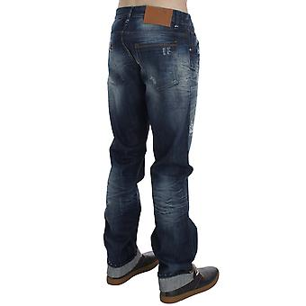 Blue-wash cotton denim regular-fit jeans
