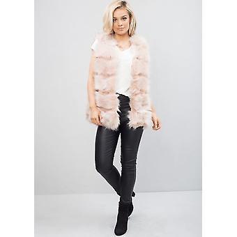 Chaqueta de piel falsa banda chaleco chaqueta rosa