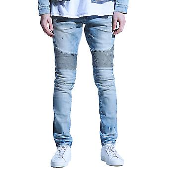 Embellish Culver Biker Denim Jeans Light Blue