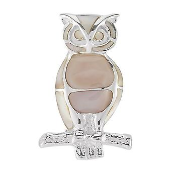 Orton West Owl Brooch - Pink/Silver