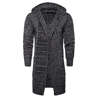 Cloudstyle Men's Cardigan Mid Long Cotton Solid Hooded Casual Sweater