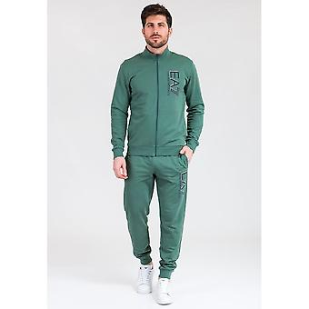 EA7 by Emporio Armani Funnel Neck Zip Green Cotton Tracksuit