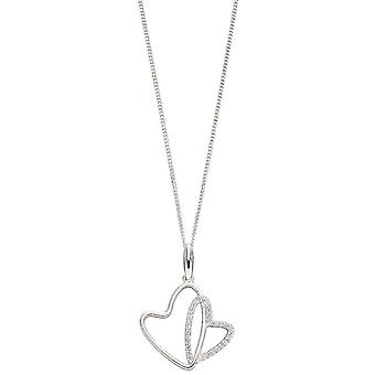 Elements Silver Double Heart Pendant - Silver